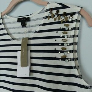 J. CREW Striped Mixed stone muscle tank top